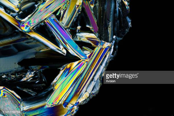 zinc sulfate crystal under polarized light - crystal stock pictures, royalty-free photos & images