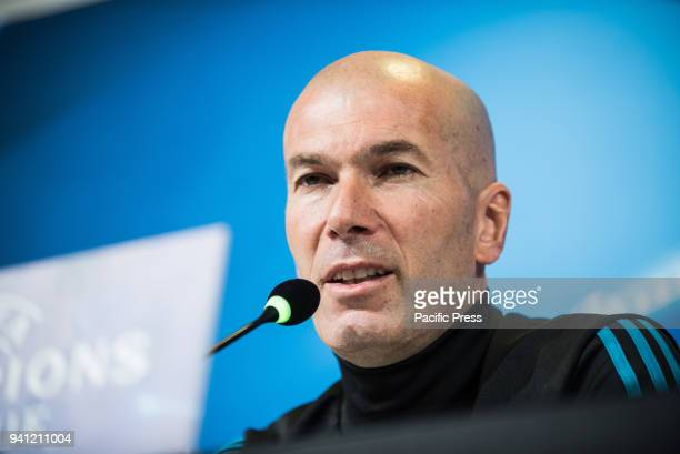 Zinédine Zidane during the Real Madrid press conference before the UFC match Juventus FC vs Real Madrid in Allianz Stadium Turin