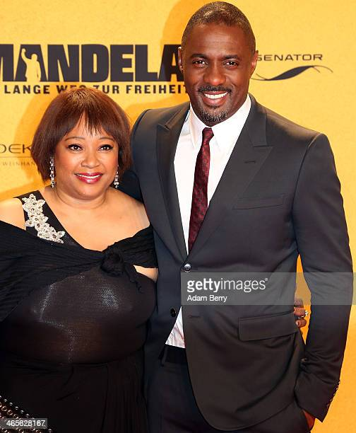 Zindzi Mandela and Idris Elba arrive for the premiere of the film 'Mandela: Long Walk to Freedom' at Zoo Palast on January 28, 2014 in Berlin,...