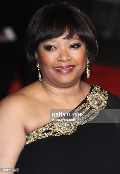 Zindzi Mandela attends the Royal film performance of Mandela Long Walk To Freedom at Odeon Leicester Square on December 5 2013 in London United...