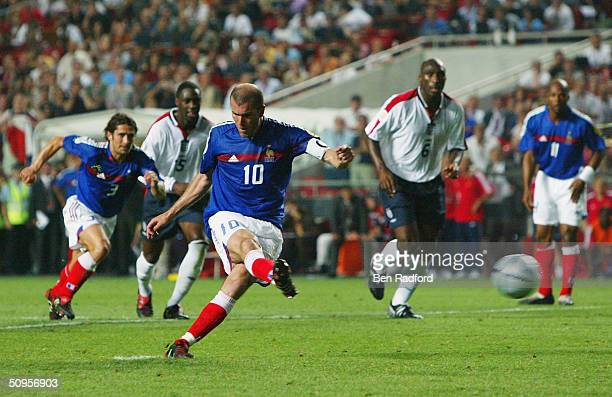 Zinedin Zidane of France scores their second goal from the penalty spot during the France v England Group B match in the 2004 UEFA European Football...