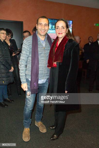 Zinedine Soualem and Dominique Blanc attend 'Laurent Gerra Sans Moderation' at L'Olympia on December 30 2017 in Paris France