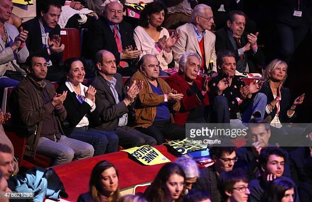 Zinedine Soualem Dominique Blanc Pierre Lescure Jean Benguigui Gerard Darmon Yvan Le Bolloc'h attend the last big meeting of Paris socialist mayoral...