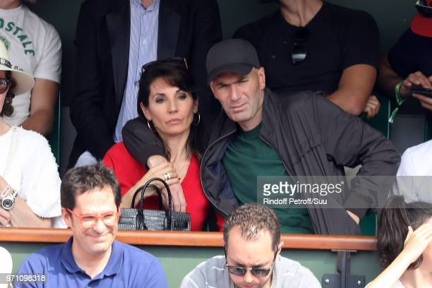 Zinedine Zidane and his wife Veronique attend the 2018 French Open Day Fifteen at Roland Garros on June 10 2018 in Paris France