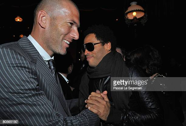 Zinedine Zidane and Lenny Kravitz attend 'The Crossing' gala event hosted by IWC Schaffhausen held at the Geneva Palaexpo on April 8 2008 in Geneva...