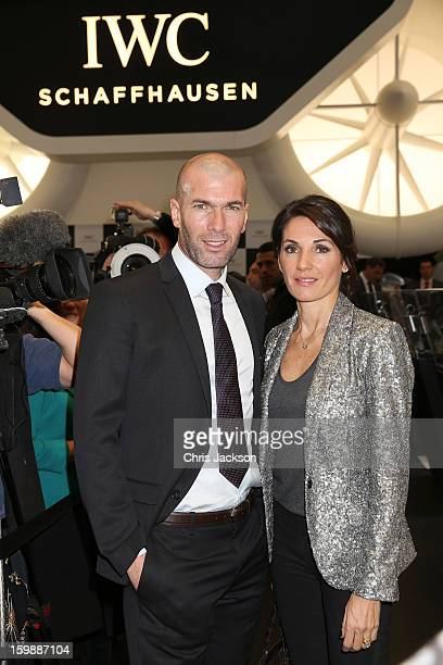 Zinedine Zidane and Veronique Zidane visit the IWC booth during the Salon International de la Haute Horlogerie 2013 at Palexpo on January 22 2013 in...