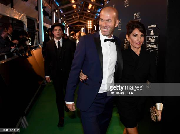 Zinedine Zidane and wife Véronique Zidane arrives on the green carpet for The Best FIFA Football Awards at The London Palladium on October 23 2017 in...