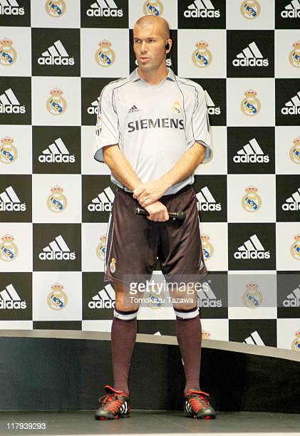 Zinedine Zidane at the press conference wearing the new official Real Madrid uniform