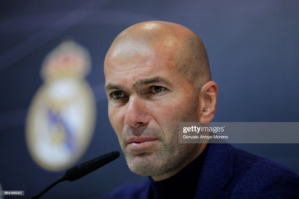 Zinedine Zidane attends a press conference to announce his resignation as Real Madrid manager at Valdebebas Sport City on May 31, 2018 in Madrid, Spain. Zidane steps down from the position of Manager of Real Madrid, after leading the club to it's third consecutive UEFA Champions League title.