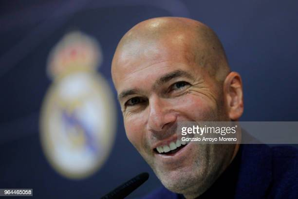 Zinedine Zidane attends a press conference to announce his resignation as Real Madrid manager at Valdebebas Sport City on May 31 2018 in Madrid Spain...