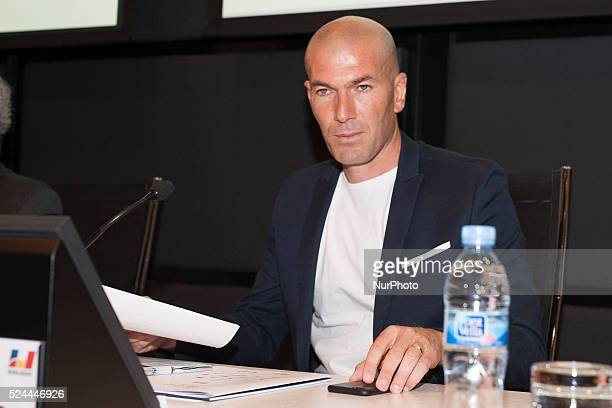 Zinedine Zidane attends the 10th 'Prix Dialogo a la Amistad HispanoFrancesa' photocall at the Uria Menendez Auditorium on June 9 2015 in Madrid Spain...
