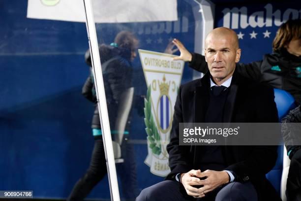 STADIUM LEGANéS MADRID SPAIN Zinedine Zidane before the match Jan 2018 Leganés and Real Madrid CF at Butarque Stadium Copa del Rey Quarter Final...