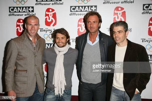 Zinedine Zidane Bixente Lizarazu Christophe Dugarry and JeanPhilippe Gatien attend the Asterix at the Olympic Games Paris Premiere at the Gaumont...