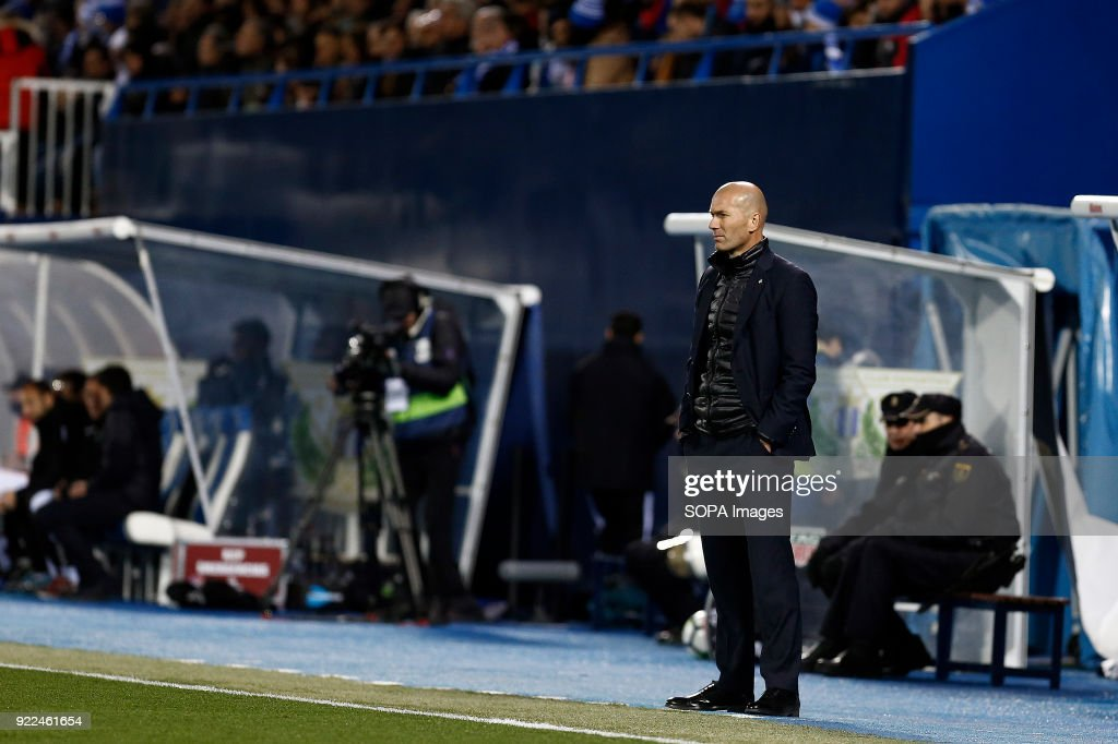 BUTARQUE, LEGANES, MADRID, SPAIN - : Zinedine Zidane(Real Madrid) during the La Liga Santander match between Leganes vs Real Madrid at the Estadio Butarque Final Score Leganes 1 Real Madrid 3.
