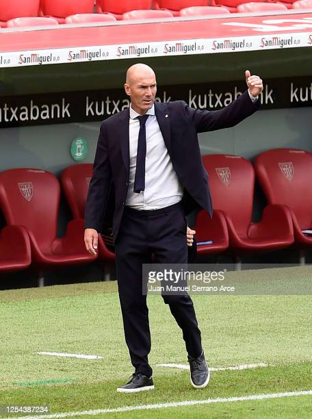 Zinedine Zidane Head Coach of Real Madrid reacts during the La Liga match between Athletic Club and Real Madrid CF at San Mames Stadium on July 05...