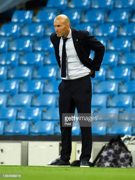 Zinedine Zidane Head Coach of Real Madrid reacts during the UEFA Champions League round of 16 second leg match between Manchester City and Real...