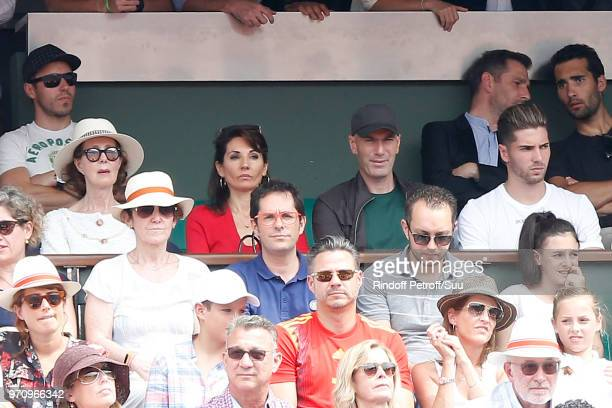 Zinedine Zidane his wife Veronique and their sons Luca and Enzo attend the Men Final of the 2018 French Open Day Fithteen at Roland Garros on June 10...