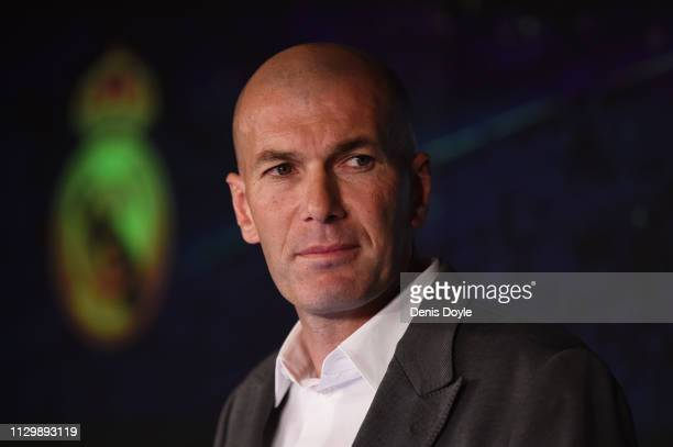 Zinedine Zidane is unveiled as new Real Madrid manager at Estadio Santiago Bernabeu on March 11, 2019 in Madrid, Spain. Zinedine Zidane returns as...