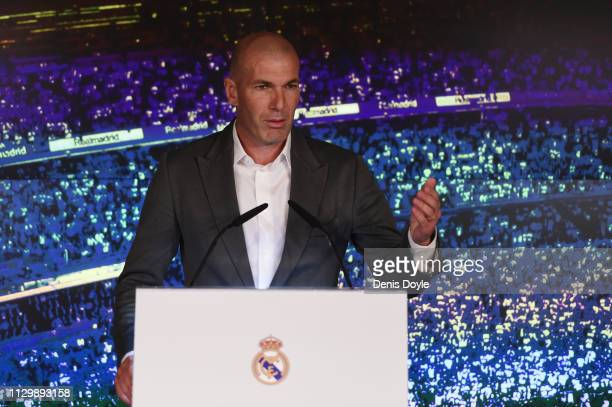Zinedine Zidane is unveiled as new Real Madrid manager at Estadio Santiago Bernabeu on March 11 2019 in Madrid Spain Zinedine Zidane returns as Real...