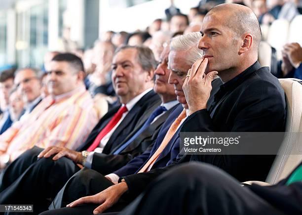 Zinedine Zidane looks on during Carlo Ancelotti´s presentation at Santiago Bernabeu at Estadio Santiago Bernabeu on June 26 2013 in Madrid Spain