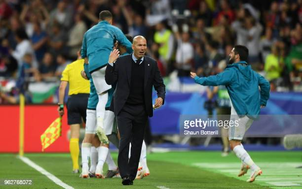 Zinedine Zidane Manager of Real Madrid celebrates after his sides second goal during the UEFA Champions League Final between Real Madrid and...