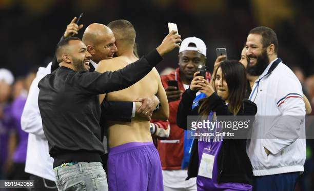 Zinedine Zidane Manager of Real Madrid celebrates victory after the UEFA Champions League Final between Juventus and Real Madrid at National Stadium...