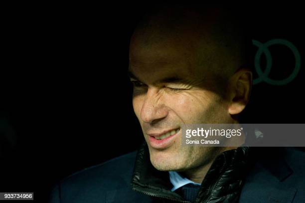 Zinedine Zidane manager of Real Madrid during the La Liga match between Real Madrid v Girona at Santiago Bernabeu on March 18 2018 in Madrid Spain