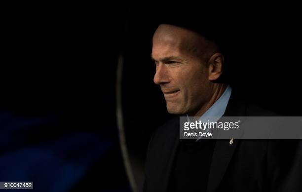 Zinedine Zidane Manager of Real Madrid looks on before the start of the Copa del Rey Quarter Final Second Leg match between Real Madrid and Leganes...