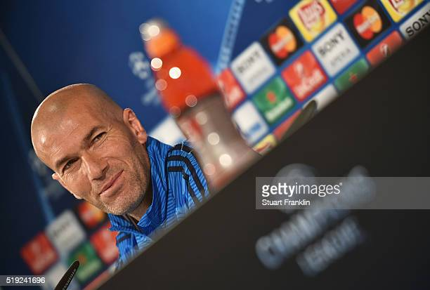 Zinedine Zidane manager of Real Madrid looks on during a Real Madrid press conference ahead of their UEFA Champions League quarter final first leg...