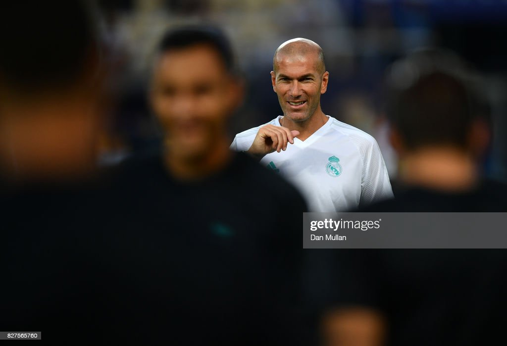Zinedine Zidane, Manager of Real Madrid looks on during a training session ahead of the UEFA Super Cup at the National Arena Filip II Macedonian on August 7, 2017 in Skopje, Macedonia.