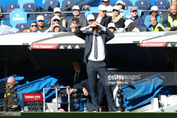 Zinedine Zidane Manager of Real Madrid looks on during the La Liga match between Real Madrid CF and Villarreal CF at Estadio Santiago Bernabeu on May...