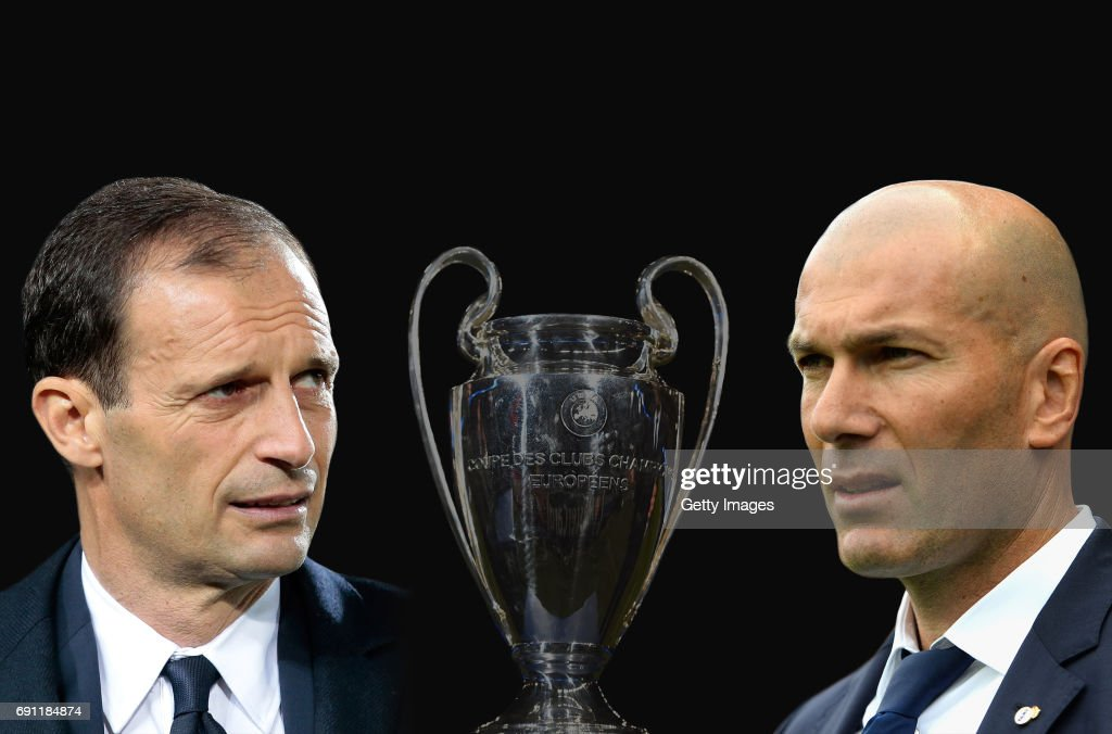 ADDED) - Image numbers 464313758,674881574,686430224 ) In this composite image a comparision has been made between Juventus FC head coach Massimiliano Allegri and Zinedine Zidane, Head Coach of Real Madrid. Juventus and Real Madrid meet in the UEFA Champions League Final at the National Stadium of Wales on June 3, 2017 in Cardiff,Wales. MALAGA, SPAIN - MAY 21: Zinedine Zidane, Manager of Real Madrid looks on during the La Liga match between Malaga and Real Madrid at La Rosaleda Stadium on May 21, 2017 in Malaga, Spain.