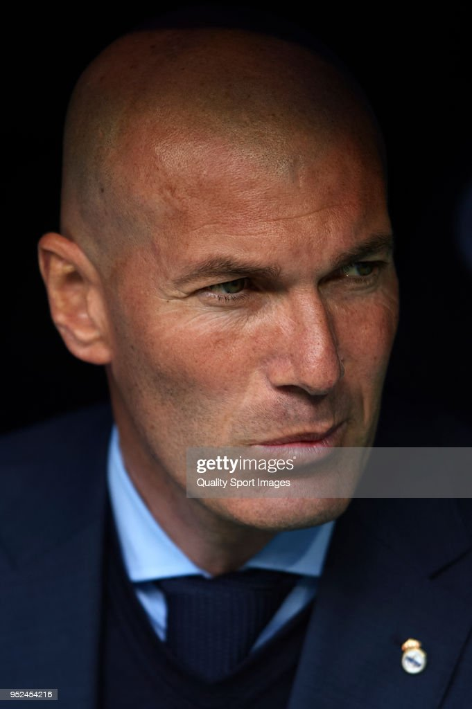Zinedine Zidane, Manager of Real Madrid looks on prior to the La Liga match between Real Madrid and Leganes at Estadio Santiago Bernabeu on April 28, 2018 in Madrid, Spain.