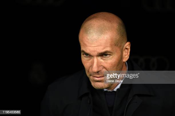 Zinedine Zidane, Manager of Real Madrid looks on prior to the Liga match between Real Madrid CF and Athletic Club at Estadio Santiago Bernabeu on...