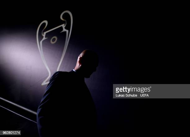 Zinedine Zidane Manager of Real Madrid walks down the tunnel following his sides victory in the UEFA Champions League Final between Real Madrid and...