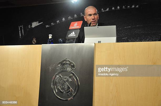 Zinedine Zidane new head coach of Real Madrid informs the media during a press conference in Madrid Spain on January 4 2016