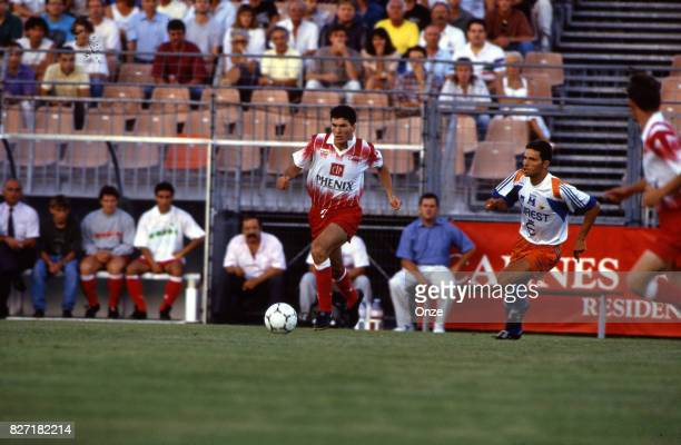 Zinedine Zidane of Cannes during a Division 1 match between Cannes and Montpellier on July 27 1991 in Cannes France Photo by Jean Claude Lamy / Onze...