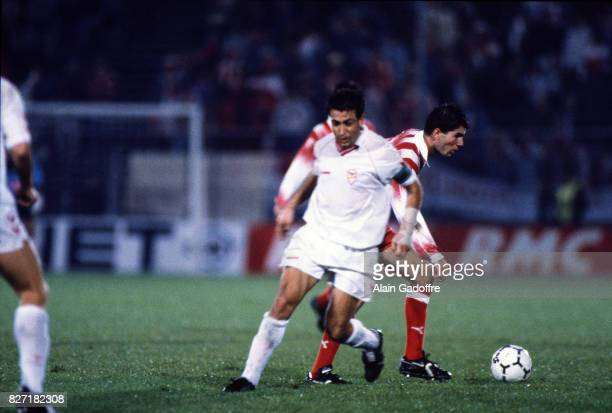 Zinedine Zidane of Cannes during the UEFA Cup match between AS Cannes and Salgueiros on October 3rd 1991