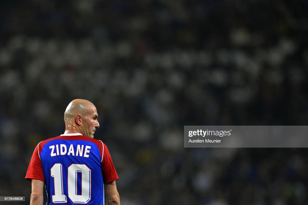 Zinedine Zidane of France 98 reacts during the friendly match between France 98 and FIFA 98 at U Arena on June 12, 2018 in Nanterre, France.