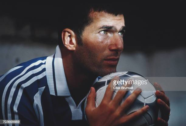 Zinedine Zidane of France and Juventus Football Club poses for a portrait for sports clothing accessories company Adidas a on 21 September 1999 at...
