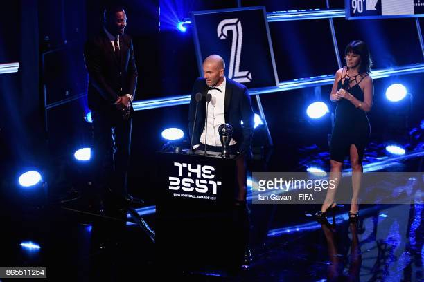 Zinedine Zidane of France and Real Madrid CF accepts the Best Mens Coach Award during The Best FIFA Football Awards at The London Palladium on...
