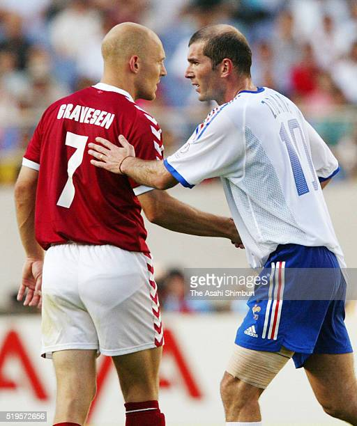 Zinedine Zidane of France and Thomas Gravesen of Denmark shake hands after the FIFA World Cup Korea/Japan Grourp A match between Denmark and France...