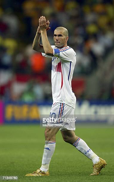 Zinedine Zidane of France applauds the fans following his team's 10 victory during the FIFA World Cup Germany 2006 Quarterfinal match between Brazil...