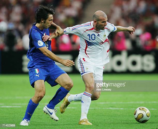 Zinedine Zidane of France battles for the ball with Andrea Pirlo of Italy during the FIFA World Cup Germany 2006 Final match between Italy and France...