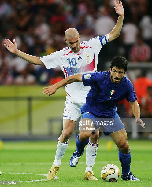 Zinedine Zidane of France battles for the ball with Gennaro Gattuso of Italy during the FIFA World Cup Germany 2006 Final match between Italy and...