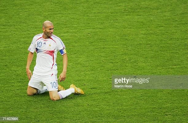 Zinedine Zidane of France casts a sideways glance during the FIFA World Cup Germany 2006 Final match between Italy and France at the Olympic Stadium...