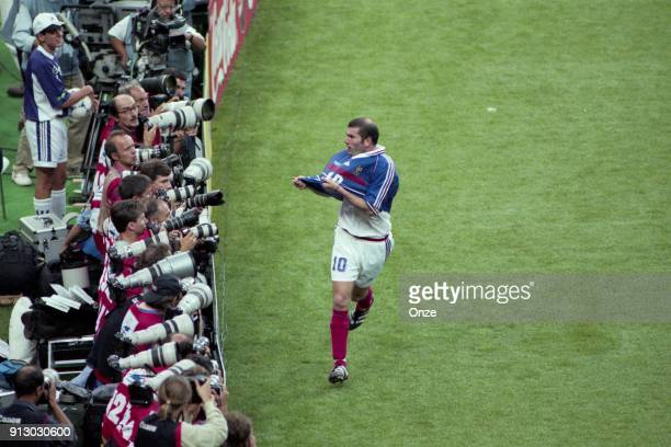 Zinedine Zidane of France celebrates his goal during the Soccer World Cup Final between Brazil and France on July 12 1998 in Paris Saint Denis France...