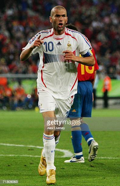 Zinedine Zidane of France celebrates scoring his team's third goal during the FIFA World Cup Germany 2006 Round of 16 match between Spain and France...
