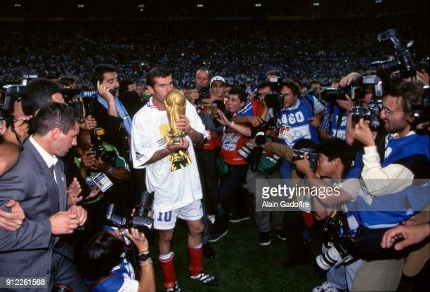 Zinedine Zidane of France celebrates the victory during the Soccer World Cup Final between Brazil and France on July 12 1998 in Paris Saint Denis...