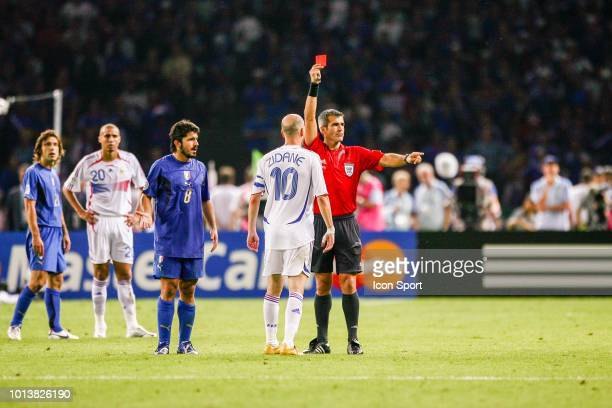 Zinedine Zidane of France gets a red card by Horacio Elizondo, referee during the World Cup final match between Italy and France at the...